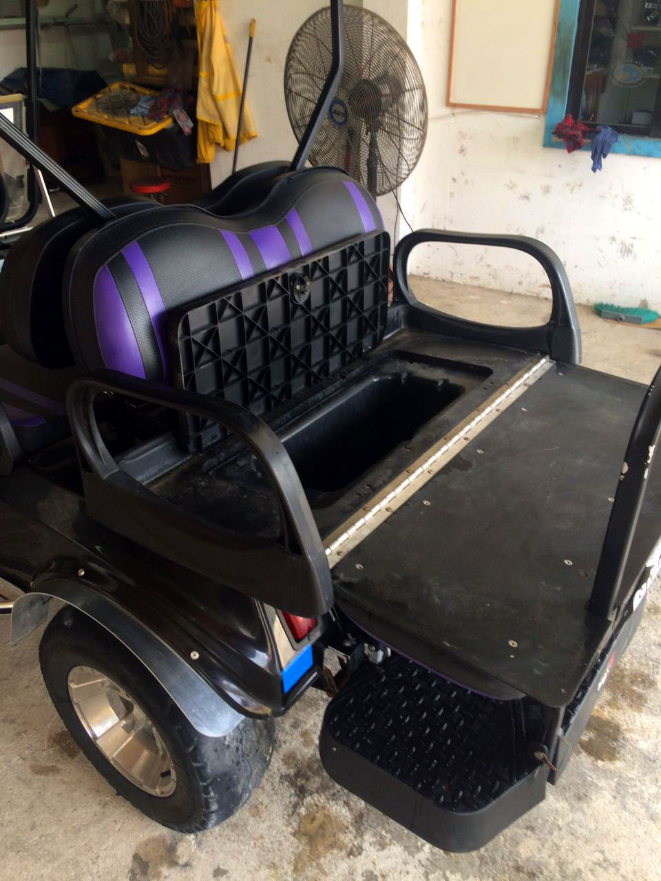Black Villager Golf Cart Fold Back Seat 09
