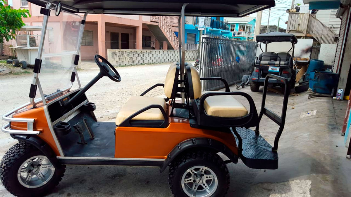 Used Atomic Orange Custom Club Car Golf Cart