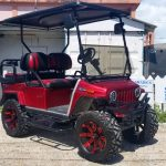 Customized Club Car Red Jeep Villager Golf Cart